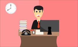Szczęśliwy pracownik przygotowywający dla pracy w biurowym płaskim projekcie Fotografia Royalty Free