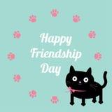 Szczęśliwy przyjaźń dnia kot i łapa drukujemy wokoło ramowego szablonu Płaski projekt Obraz Stock