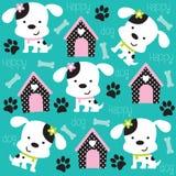 Szczęśliwy psa wzór z łapy kości i druku illustr Fotografia Royalty Free