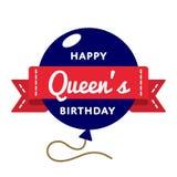Szczęśliwy queens powitania urodzinowy emblemat fotografia royalty free