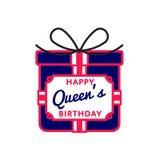 Szczęśliwy queens powitania urodzinowy emblemat Obrazy Stock