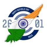 Szczęśliwy republika dzień, 26th Styczeń również zwrócić corel ilustracji wektora Zdjęcia Royalty Free