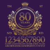 Szczęśliwy rocznica znaka zestaw Złote liczby, abecadło, rama i niektóre słowa dla tworzyć świętowanie emblematy, ilustracji