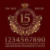 Szczęśliwy rocznicowy świętowanie znaka zestaw Złote liczby, abecadło, rama i niektóre słowa dla tworzyć gratulacyjnych emblematy royalty ilustracja
