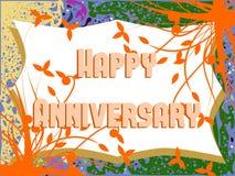 Szczęśliwy rocznicowy kartka z pozdrowieniami z liśćmi Obrazy Royalty Free