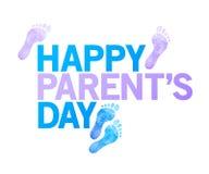 szczęśliwy rodzica dnia znak szczęśliwi cieki ilustracyjni ilustracja wektor