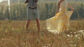 Szczęśliwy rodzinny bawić się przy polem Potomstwo ojciec daje jego synowi piggyback przejażdżce outside zbiory