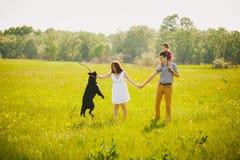 Szczęśliwy rodzinny bawić się z labradorem w łące Obrazy Stock