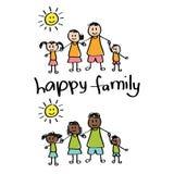Szczęśliwy rodzinny dzieci rysować Obrazy Royalty Free