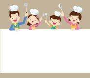 Szczęśliwy rodzinny kucharstwo z przestrzeni ramą Obraz Royalty Free