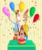 Szczęśliwy rodzinny odświętność urodziny ilustracja wektor