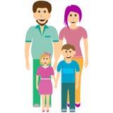 Szczęśliwy rodzinny ojciec, córka, matka i syn, royalty ilustracja