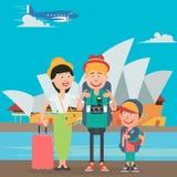 Szczęśliwy Rodzinny podróżowanie samolotem Australia Ojciec, matka i syn z opera budynkiem, Obraz Royalty Free