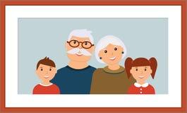 Szczęśliwy rodzinny portret: uśmiechnięci dziadkowie i wnuk w drewnianej brąz ramie ilustracja wektor