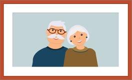 Szczęśliwy rodzinny portret: uśmiechnięty dziad i babcia w drewnianej brąz ramie ilustracja wektor