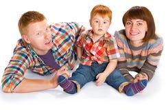 Szczęśliwy rodzinny portreta ono uśmiecha się Obrazy Royalty Free