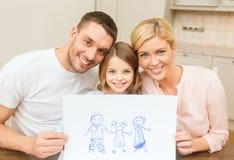Szczęśliwy rodzinny rysunek w domu Obraz Stock