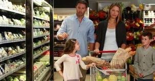 Szczęśliwy rodzinny sklepu spożywczego zakupy wpólnie zbiory