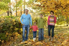 Szczęśliwy rodzinny spacer Fotografia Stock