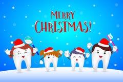 Szczęśliwy rodzinny ząb z Santa kapeluszem Zdjęcie Stock