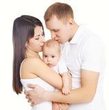 Szczęśliwy rodziny, matki i ojca całowania dziecko, zdjęcia royalty free