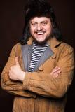 Szczęśliwy rosyjski mężczyzna ono uśmiecha się, ok Zdjęcia Stock