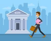 Szczęśliwy rozochocony biznesmen niesie prosiątko banka wektoru ilustrację ilustracja wektor