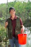 Szczęśliwy rybak obrazy royalty free