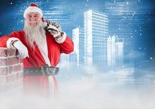 Szczęśliwy Santa Claus opiera na ścianie Obrazy Royalty Free