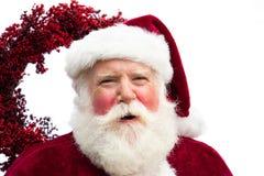 Szczęśliwy Santa z wiankiem Zdjęcia Royalty Free