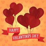 Szczęśliwy serce kształtujący walentynka dnia balony royalty ilustracja