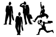 Szczęśliwy skok i działający biznesmeni ilustracja wektor
