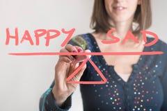 Szczęśliwy - Smutny balansowy pojęcie zdjęcie stock