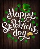 Szczęśliwy St Patrick s dnia literowanie również zwrócić corel ilustracji wektora ilustracja wektor