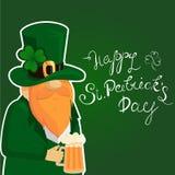 Szczęśliwy St Patrick ` s dnia literowanie z Czerwonym Beared Leprechaun charakterem i koniczyny shamrock Irlandzki hollyday szab Obraz Stock