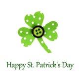 Szczęśliwy St Patricks dnia tekst z shamrock Zdjęcia Stock