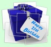 Szczęśliwy 21st Urodzinowy prezent Wystawia odświętność Dwadzieścia jeden rok Obraz Stock