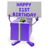 Szczęśliwy 21st urodziny znak, prezent i Pokazujemy Dwadzieścia Zdjęcia Royalty Free