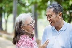 Szczęśliwy starszej osoby pary gawędzenie w parku obraz royalty free