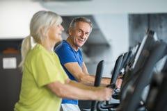 Szczęśliwy starszy pary szkolenie na schodowy stepper przy gym Obraz Royalty Free