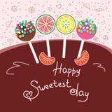 Szczęśliwy sweetest dnia pojęcie, powitanie karta Kolorowa wektorowa ilustracja, ręka rysujący styl royalty ilustracja