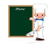 szczęśliwy szef kuchni menu Obraz Stock