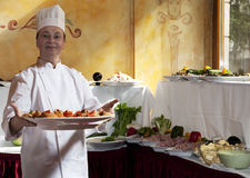 szczęśliwy szef kuchni profesjonalista Zdjęcie Royalty Free