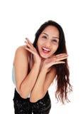 Szczęśliwy target628_0_ młodej kobiety Fotografia Royalty Free