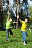 Szczęśliwy target184_1_ dzieci obrazy royalty free