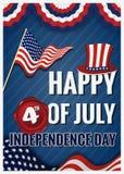 Szczęśliwy 4th LIPA dnia niepodległości kartka z pozdrowieniami Fotografia Stock