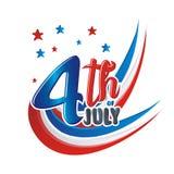 Szczęśliwy 4th Lipiec, usa dnia niepodległości Wektorowy projekt royalty ilustracja