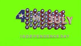 Szczęśliwy 4th Lipiec z Chroma klucza tłem zdjęcie wideo
