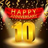 Szczęśliwy 10th Rocznicowy świętowanie z złotymi confetti i światłem reflektorów Fotografia Stock