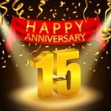 Szczęśliwy 15th Rocznicowy świętowanie z złotymi confetti i światłem reflektorów Fotografia Stock